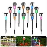Luces Solares Jardín, 12Pcs IP65 LED al Aire Libre Lamparas Solares...