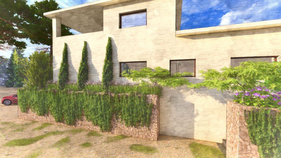 Diseño de jardin y obra de paisajismo en Madrid vista completa