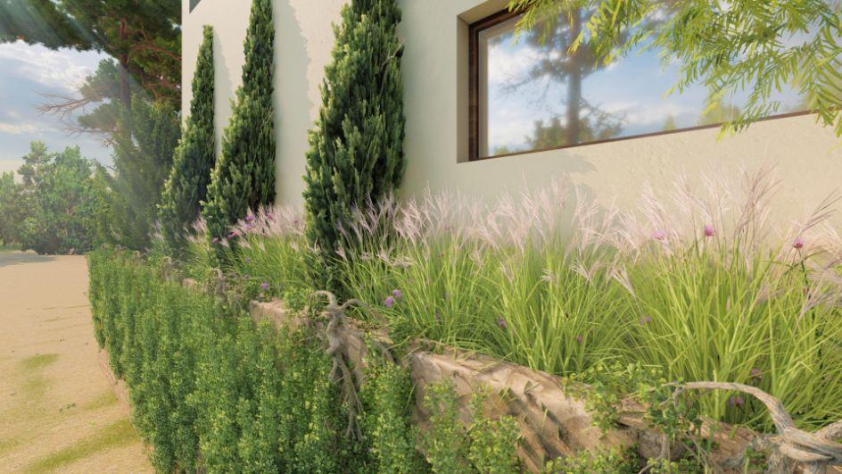 Diseño de jardin y obra de paisajismo en Madrid vista rasa