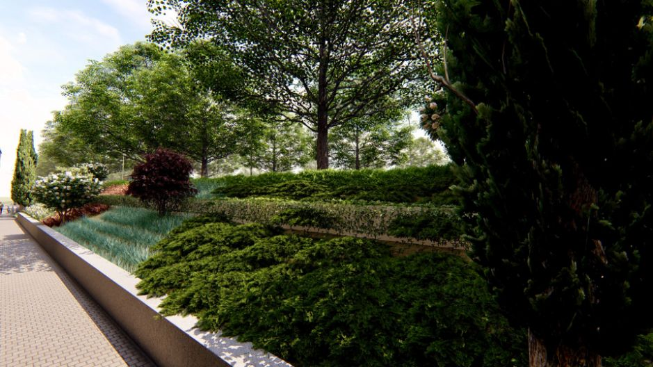 Diseño de parterre y obra de paisajismo en Madrid simulacion resultado final